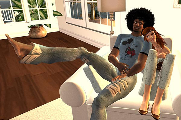 Computer generated image of a couple cuddling on a sofa